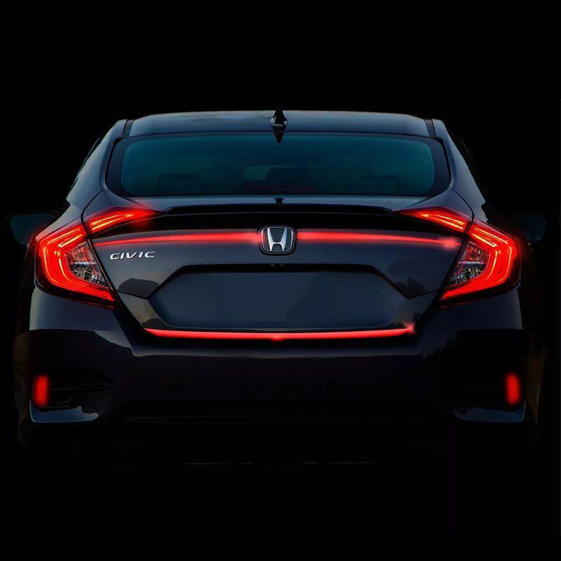 Frisos Porta-malas Civic G10 2017 Refletivo Resinado Verm