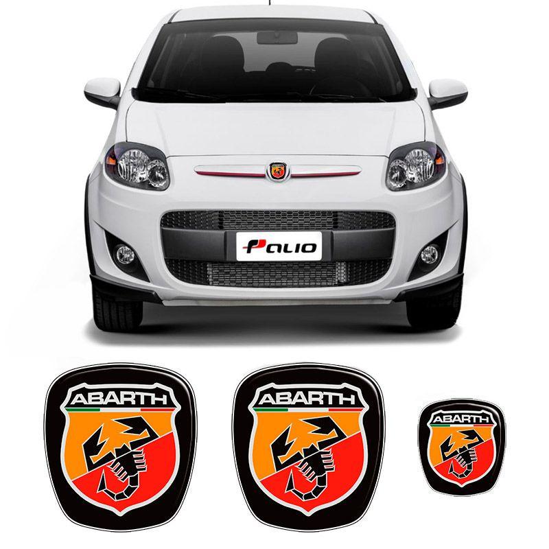 Kit 3 Adesivos Emblema Fiat Abarth Novo Palio