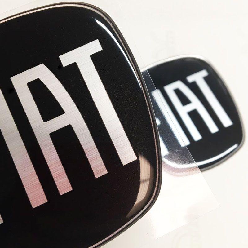 Kit 6 Adesivos Emblemas Fiat Preto Black Piano Mobi