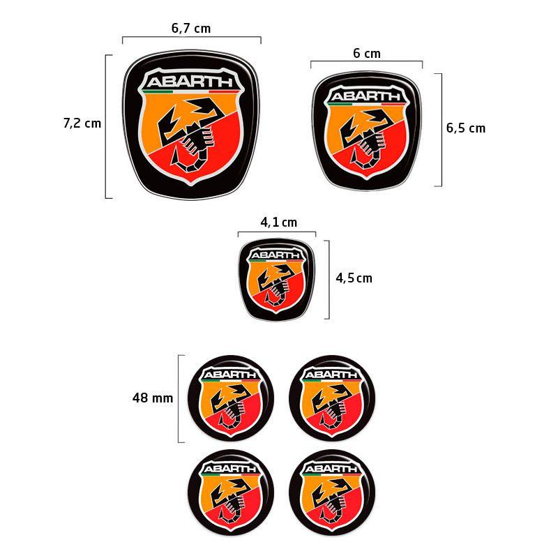 Kit 7 Adesivos Emblemas Abarth Fiat Punto 2008 a 2016