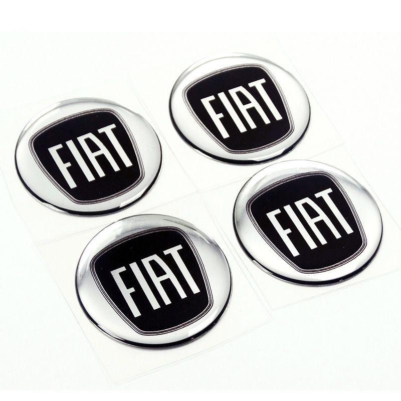 Kit Adesivo De Calota Emblema Fiat Black Piano Resinado 55mm
