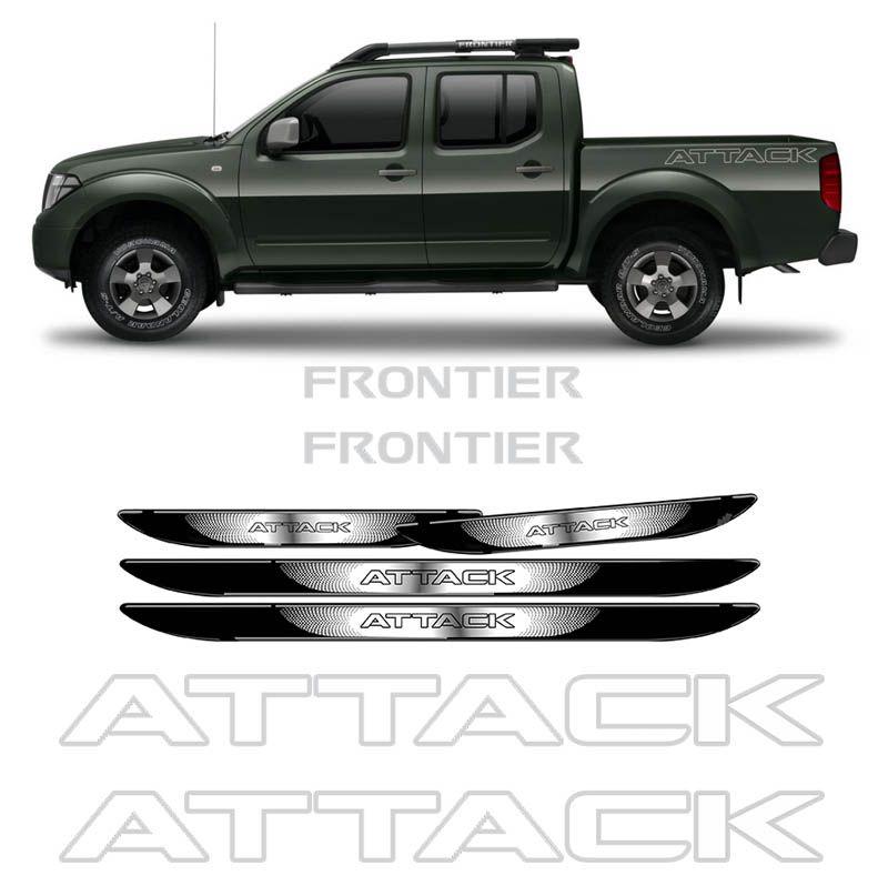 Kit Adesivo Faixa Frontier Attack Prata + Soleira Black Over