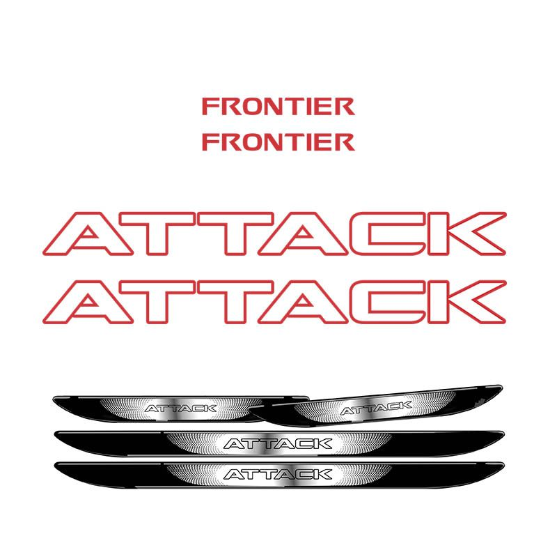 Kit Adesivo Faixa Frontier Attack Vermelho + Soleira Porta