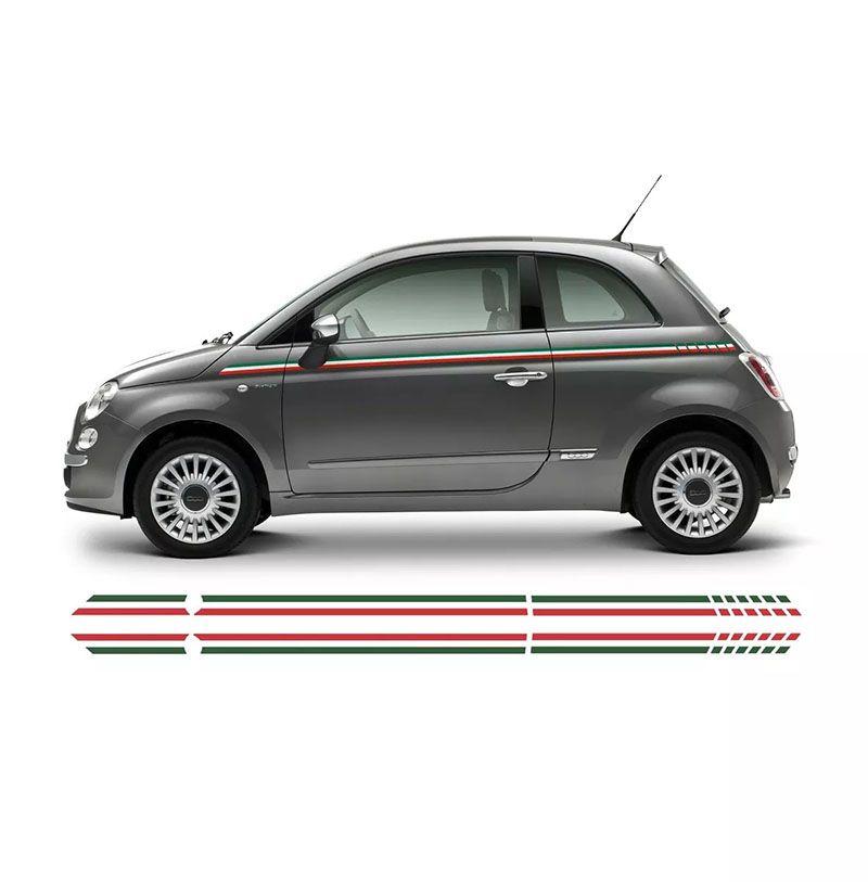 Kit Adesivo Faixa Lateral Fiat 500 Itália Modelo Original