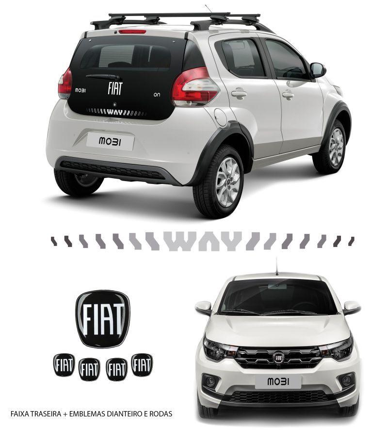 Kit Adesivo Faixa Mobi Way + Emblemas + Calotas