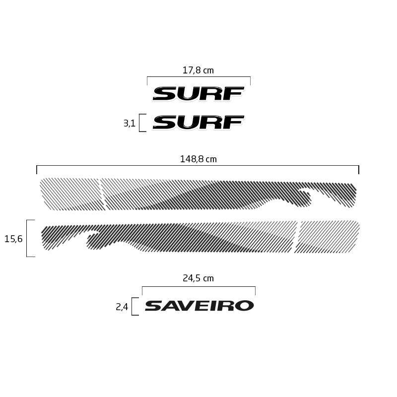 Kit Adesivo Faixa Saveiro Surf 2015/2016 Preto Modelo Original