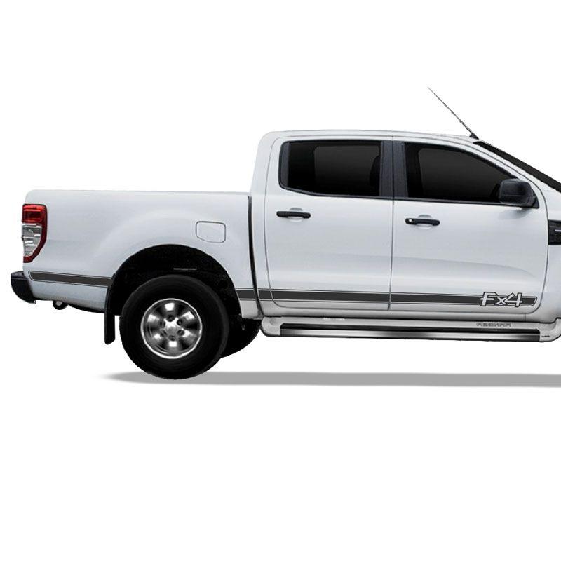 Kit Adesivo Ford Ranger FX4 Faixa Lateral Prata Decorativa