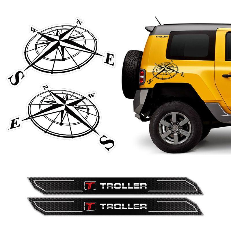 Kit Adesivo Troller 2015 Rosa Dos Ventos + Soleira Protetora