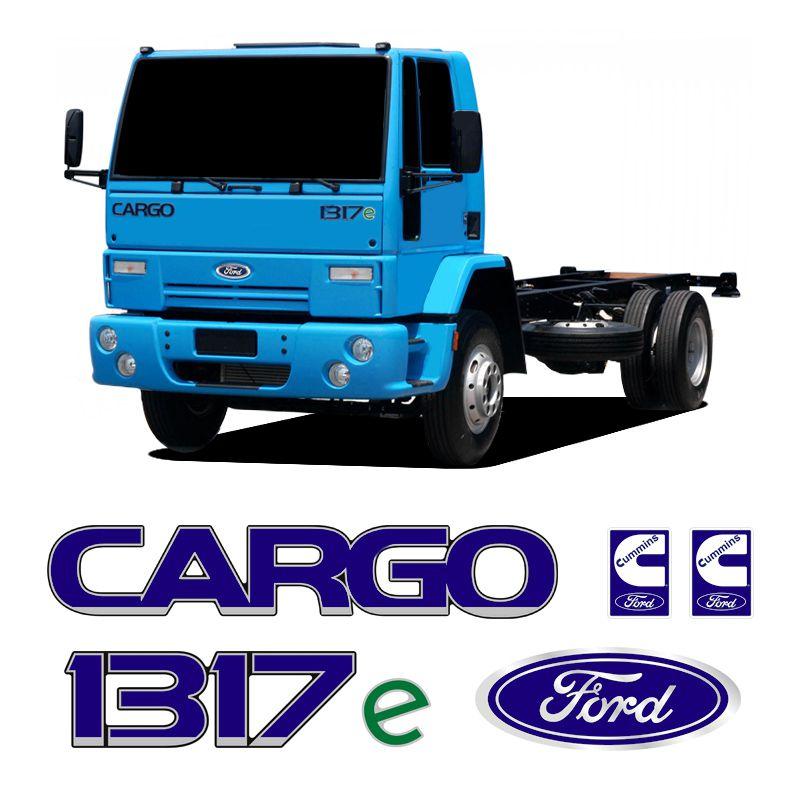 Kit Adesivos Cargo 1317e Cummins Emblemas Caminhão Ford Azul