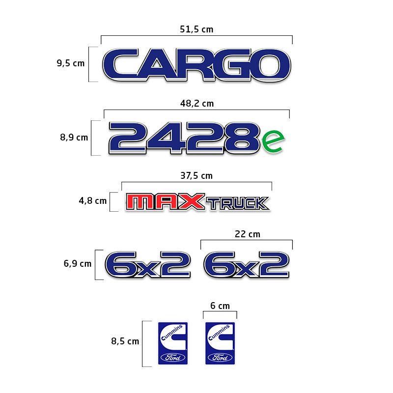 Kit Adesivos Cargo 2428e Max Truck 6x2 Emblema Caminhão Ford