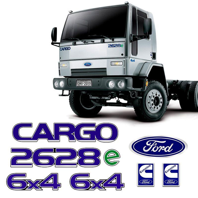 Kit Adesivos Cargo 2628e 6x4 Cummins Emblemas Caminhão Ford