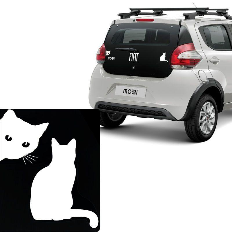 Kit Adesivos Emblema Gato Lateral e Gato de costas Branco