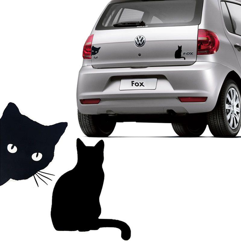 Kit Adesivos Emblema Gato Lateral e Gato de costas Preto