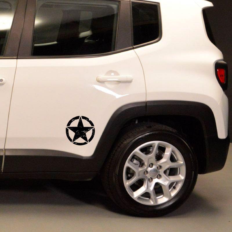 Kit Adesivos Estrela Militar Corroída Jeep Renegade Preto