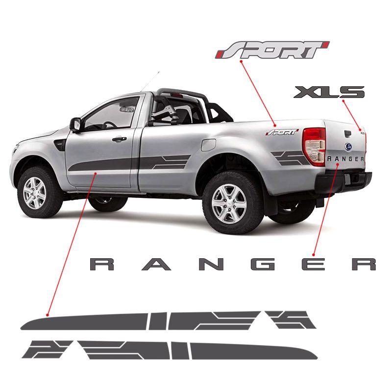 Kit Adesivos Faixa Ranger Cs Sport 2014/2016 Xls Grafite