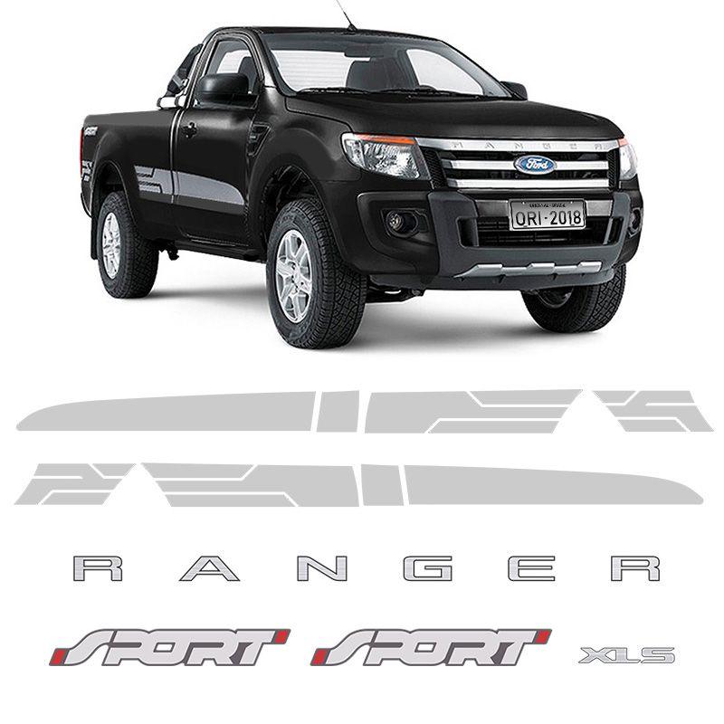 Kit Adesivos Faixa Ranger Cs Sport 2014/2016 Xls Prata