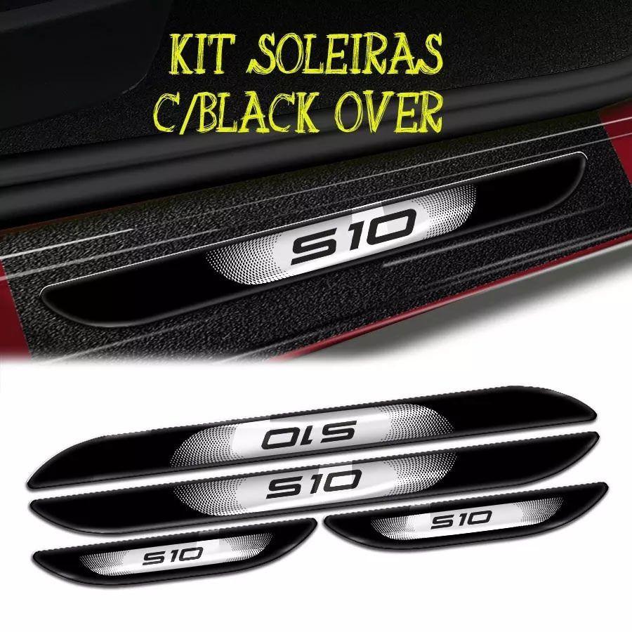 Kit Adesivos Faixa S10 2007 Preto + Soleira Com Black Over