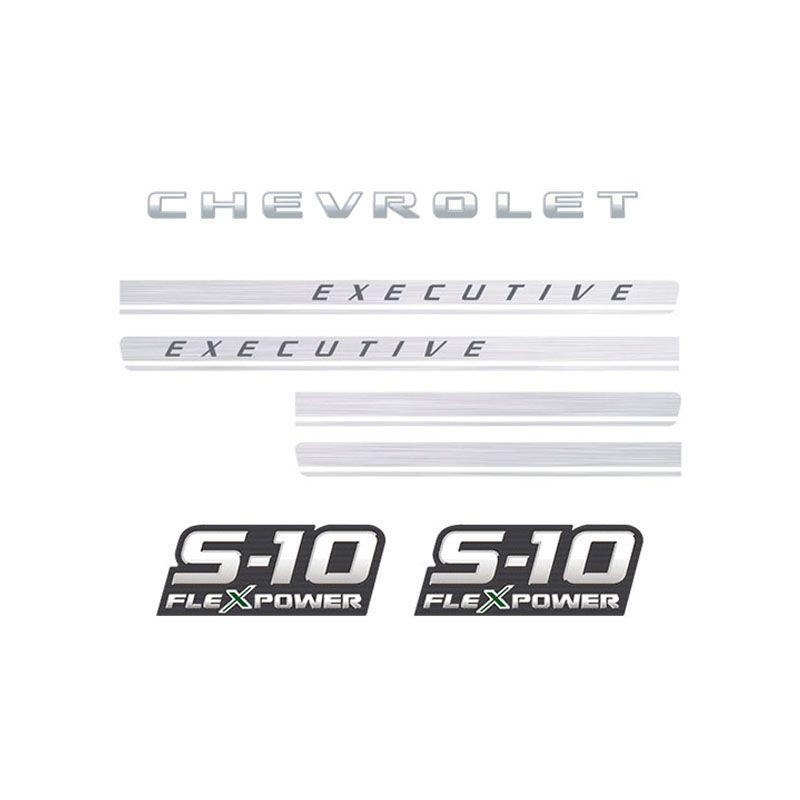 Kit Adesivos Faixas S10 Executive Preta Flex Power Verde