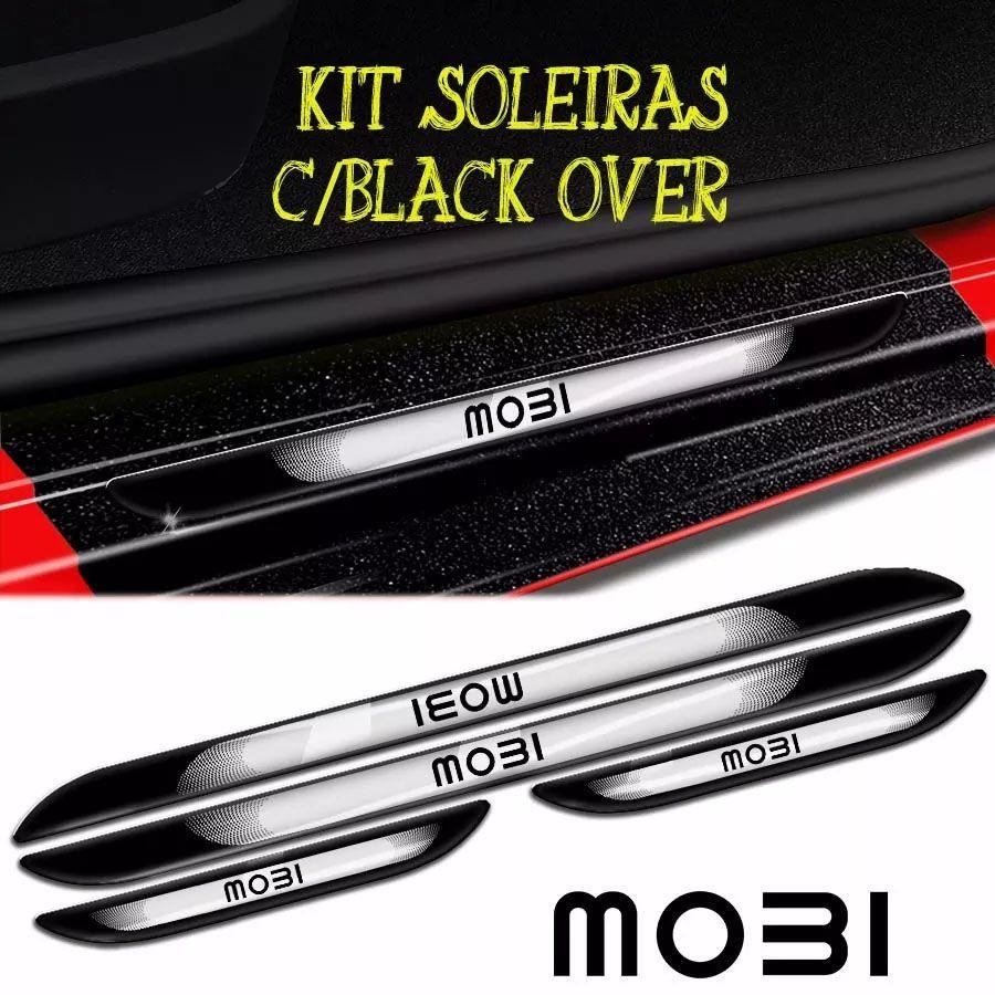 Kit Adesivos Fiat Mobi Friso + Soleira Black Over + Emblemas
