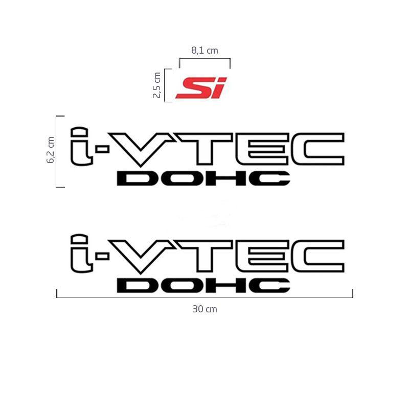 Kit Adesivos Honda New Civic I-vtec Dohc Preto Si Vermelho
