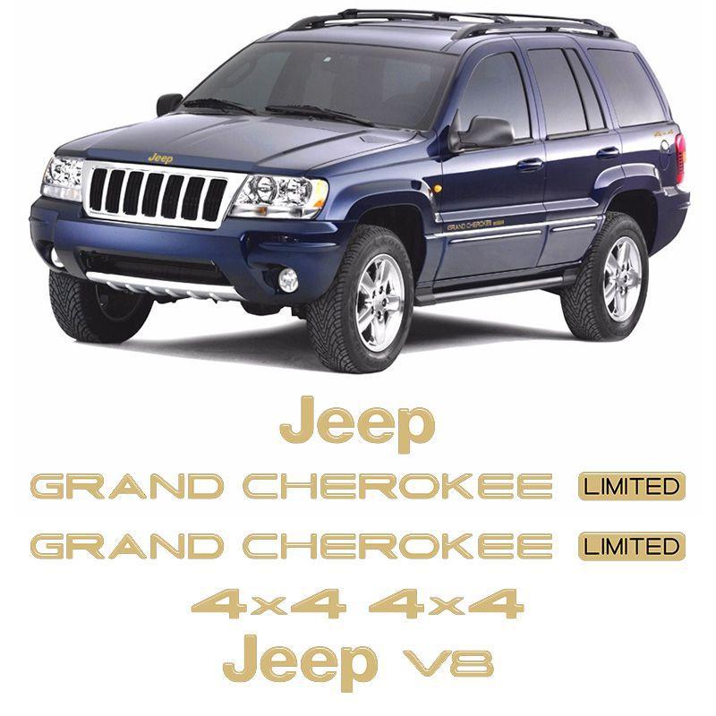 Kit Adesivos Jeep Grand Cherokee V8 96/99 Emblema Dourado