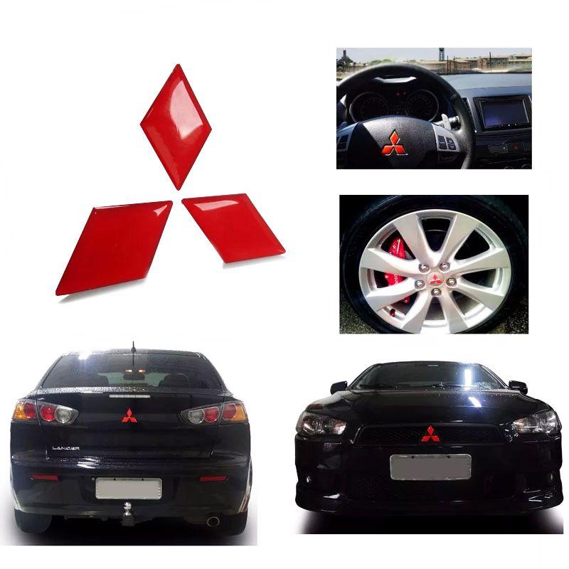 Kit Adesivos Logo Lancer Resinado Vermelho Refletivo