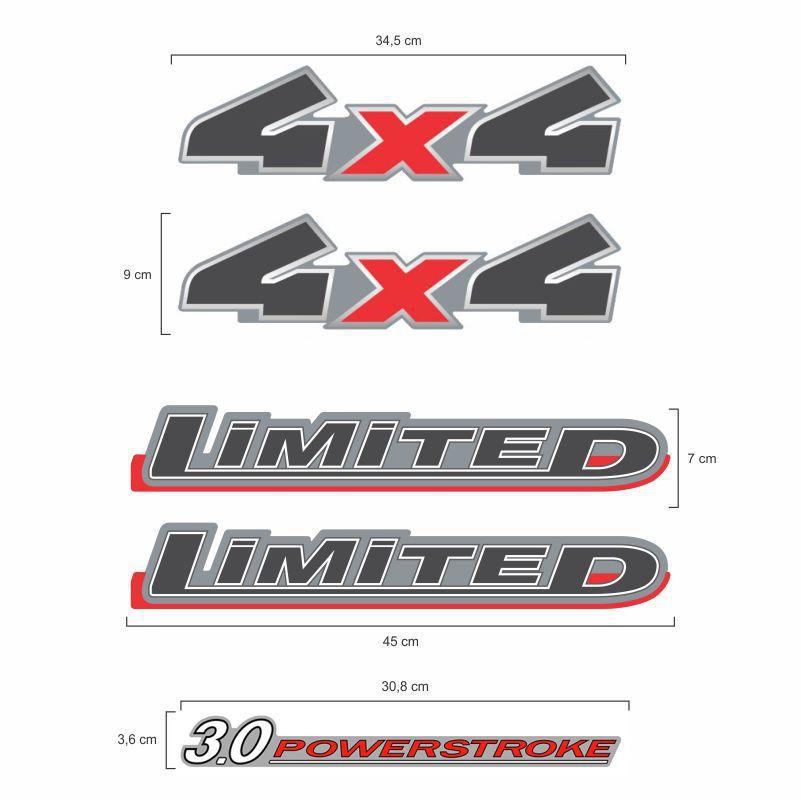 Kit Adesivos Ranger 2010/2012 Prata Limited 3.0 Powerstroke