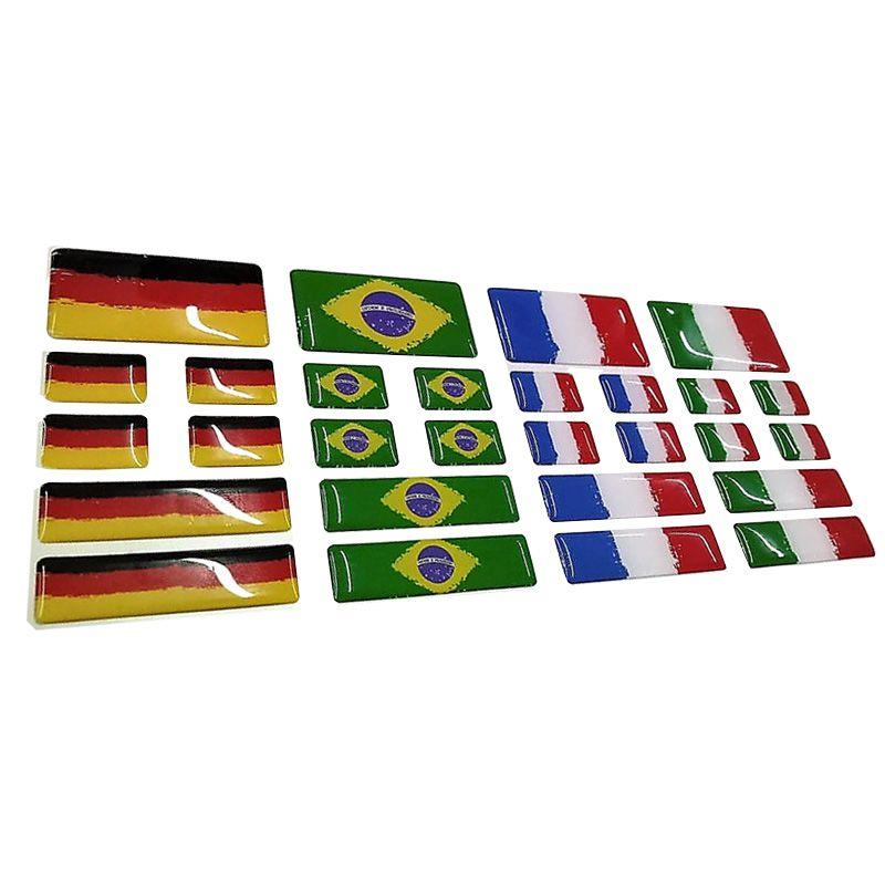 Kit Adesivos Resinados Bandeira França Placa Coluna Traseira