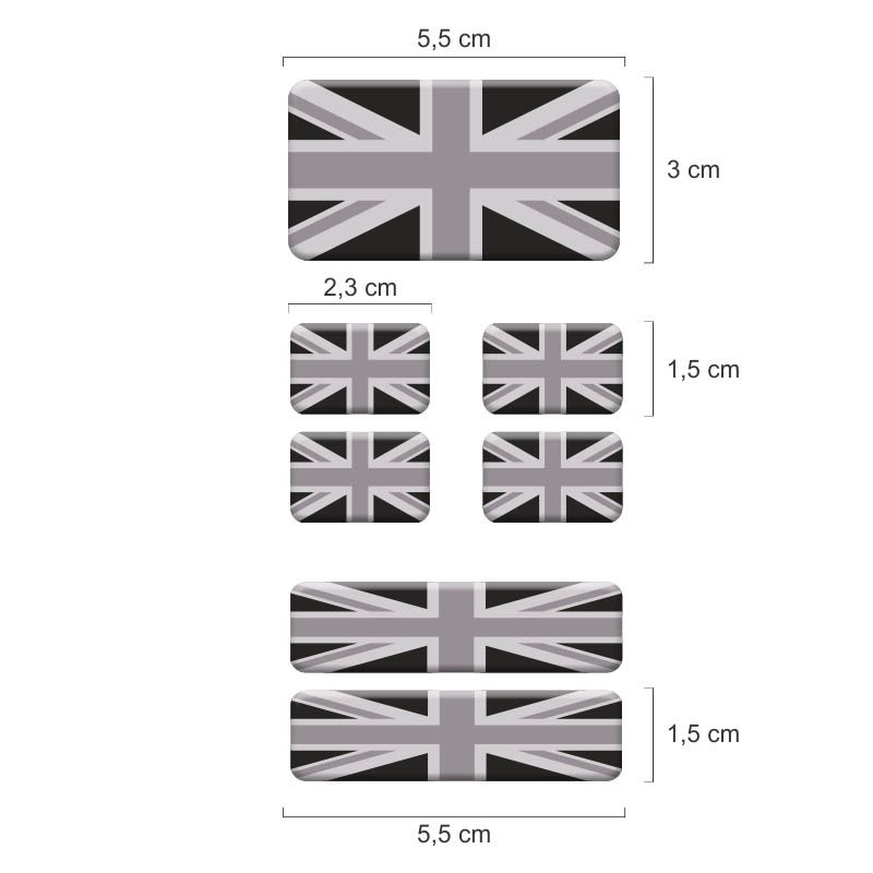 Kit Adesivo Resinados Bandeira Inglaterra Cinza Placa Coluna