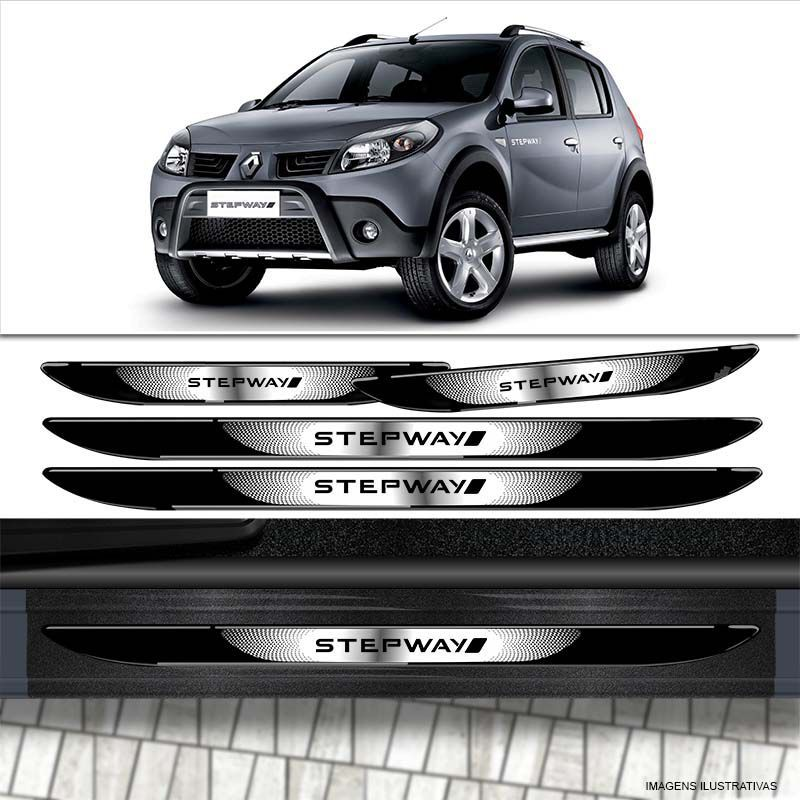 Kit Adesivos Sandero Stepway 08 Grafite + Soleira Black Over