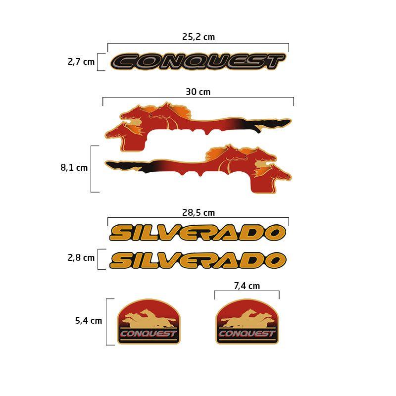 Kit Adesivos Silverado Conquest 1999/2000 Emblemas Resinados