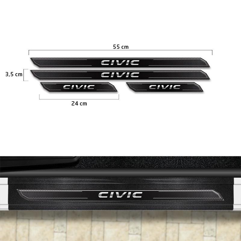 Kit Aplique Lateral Civic G10 + Soleira Da Porta Protetora