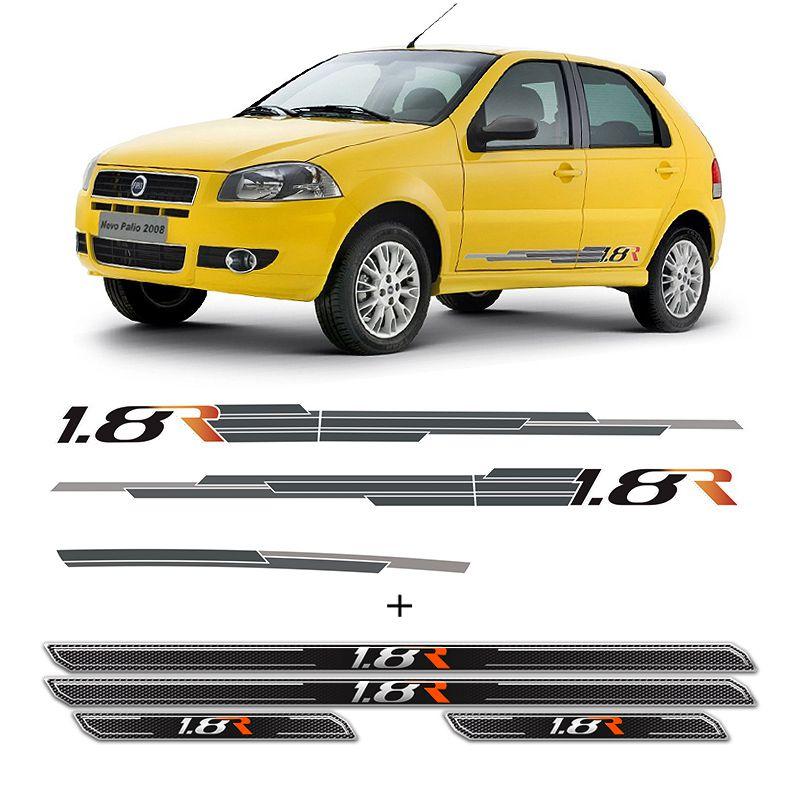 Kit Completo Faixa Fiat Palio 1.8 R 2008 + Soleira Protetora