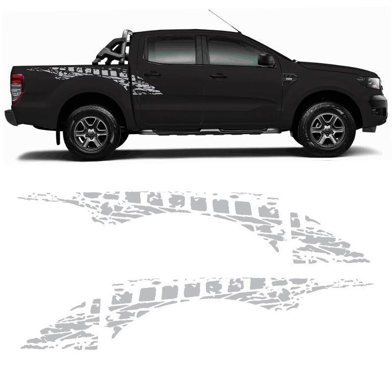 Faixa Lateral Ford Ranger Sportrac 2013 a 2020 Prata Mod. Original