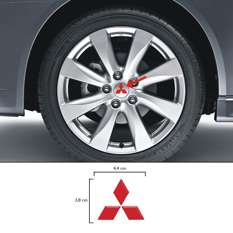 Kit Emblema Da Roda Lancer Vermelho Refletivo Adesivo Calota