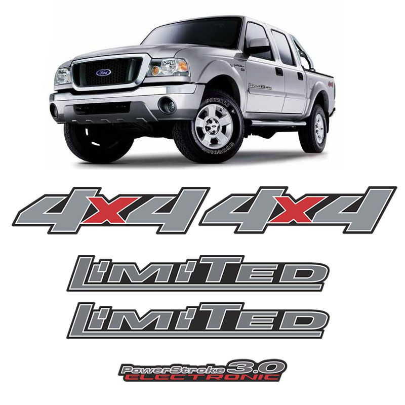 Kit Adesivos Ford Ranger Limited 3.0 4x4 2007 a 09 Cromado