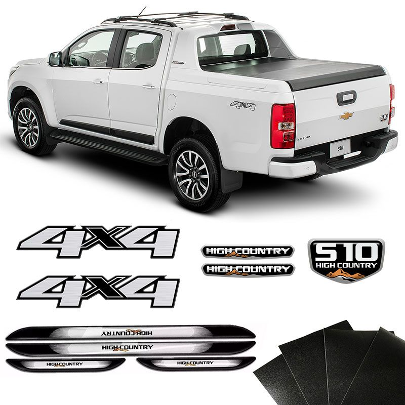 Kit Emblemas 4x4 S10 High Country 16/19 + Soleira Protetora
