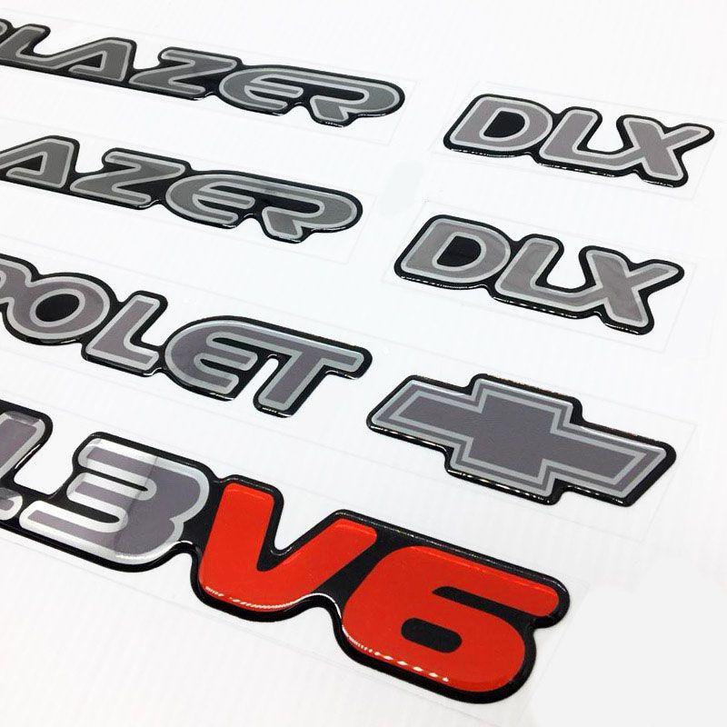 Kit Emblemas Blazer Dlx 1996/99 4.3v6 Adesivo Prata/Cromado