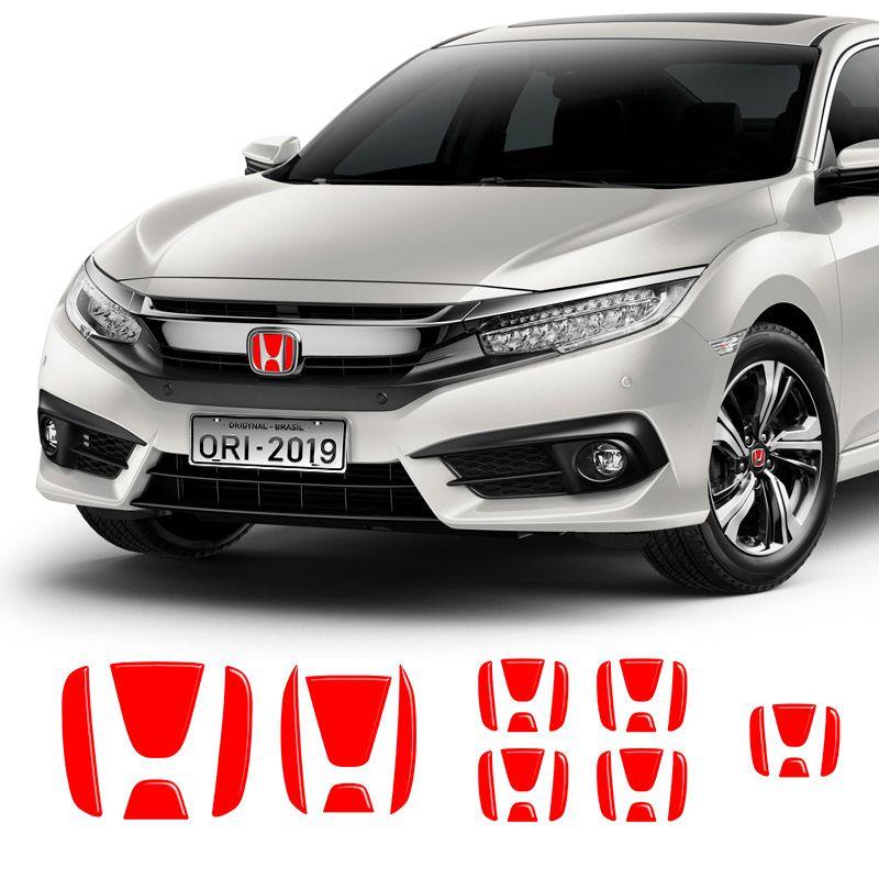 Kit Emblemas Civic G10 2017/2019 Aplique Vermelho Refletivo