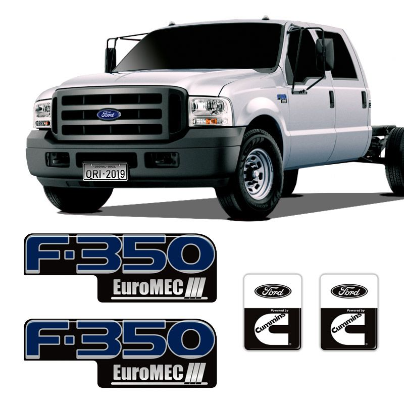 Kit Emblemas Ford F-350 Euromec III + Adesivo Cummins Preto
