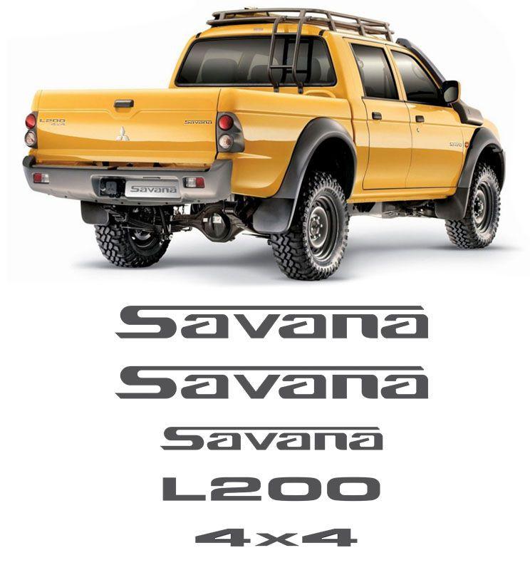 Kit Emblemas L200 Savana 4x4 Mitsubishi Lateral E Traseiro