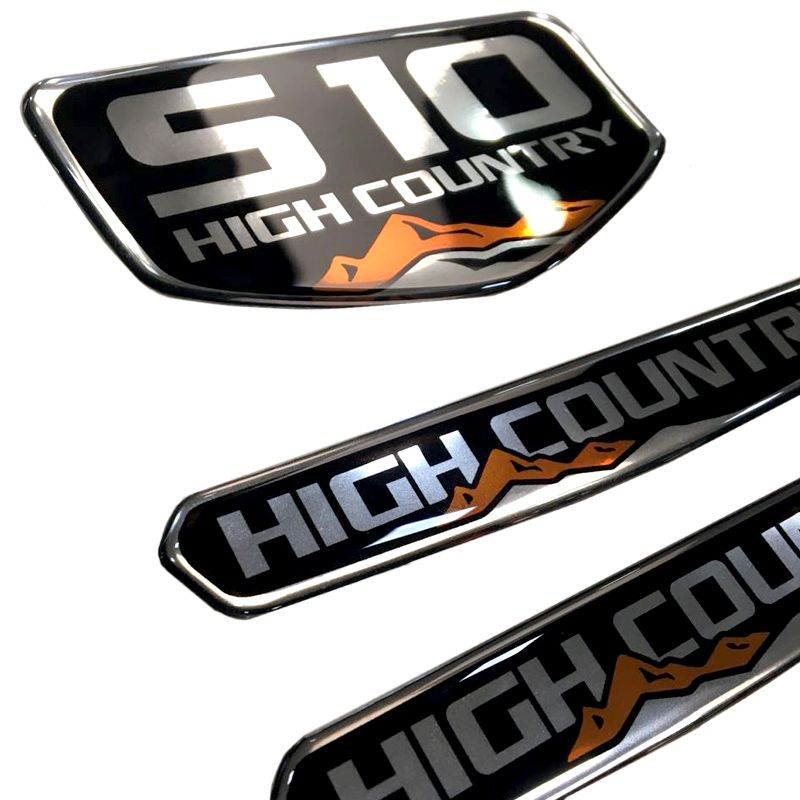 Kit Emblemas Resinados S10 High Country + Soleira Protetora