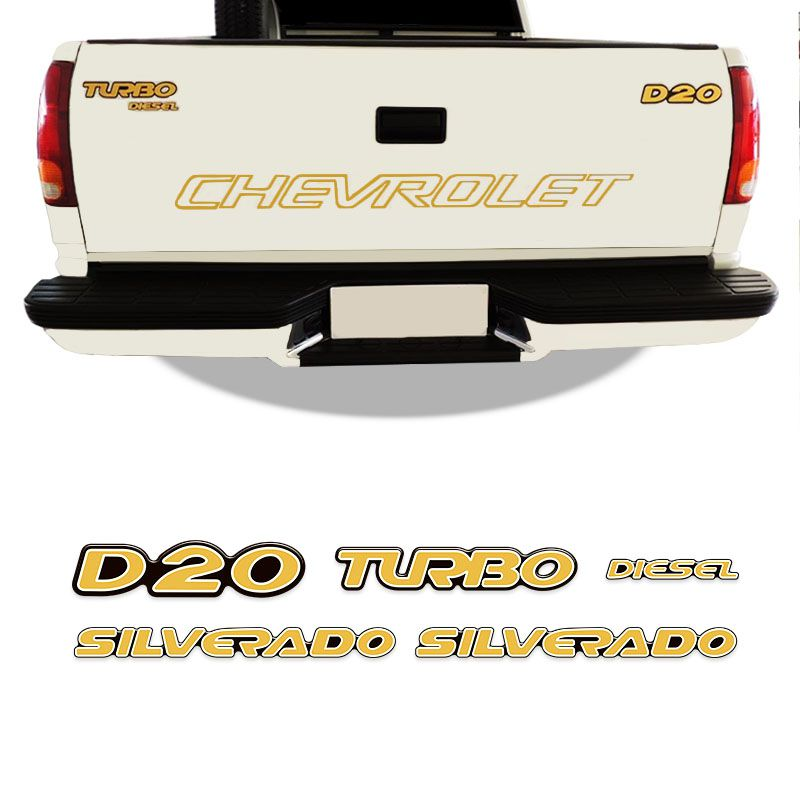 Kit Emblemas Resinados Silverado D20 2000 Turbo Diesel Gm