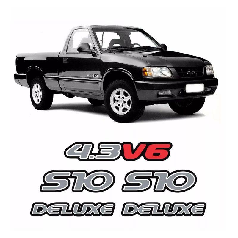 Kit Emblemas S10 2000 Deluxe 4.3v6 Adesivo Prata Resinado