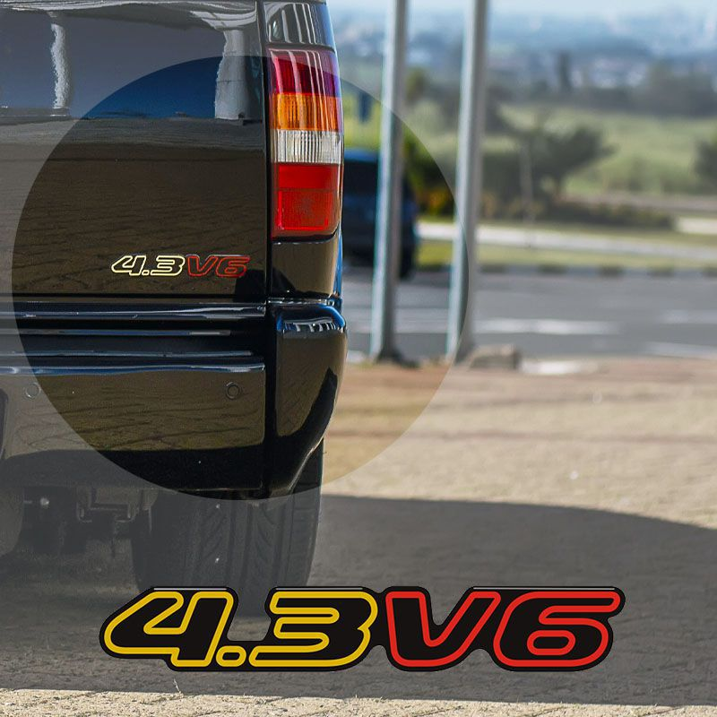 Kit Emblemas S10 2000 Deluxe 4.3v6 Adesivo Preto Resinado