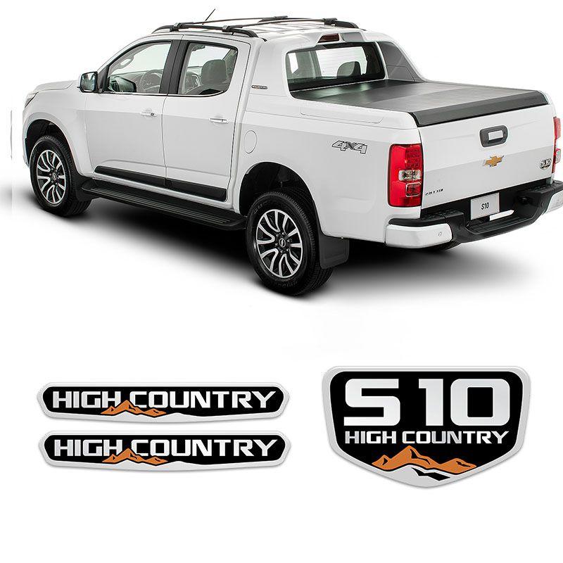 Kit Emblemas S10 High Country 2016/2019 Adesivos Resinados