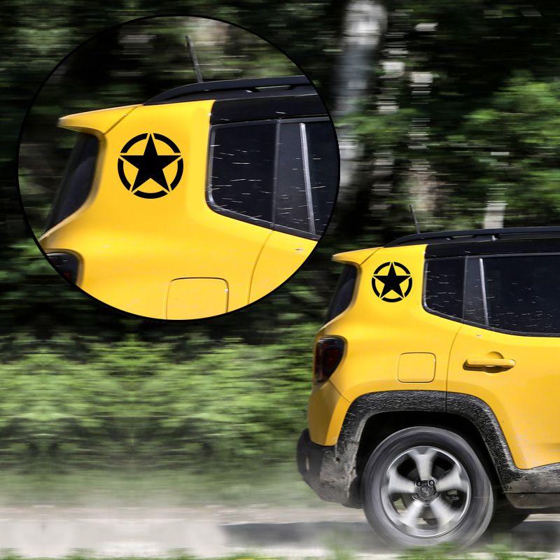Kit Estrela Militar Para Coluna Jeep Renegade Adesivo Preto