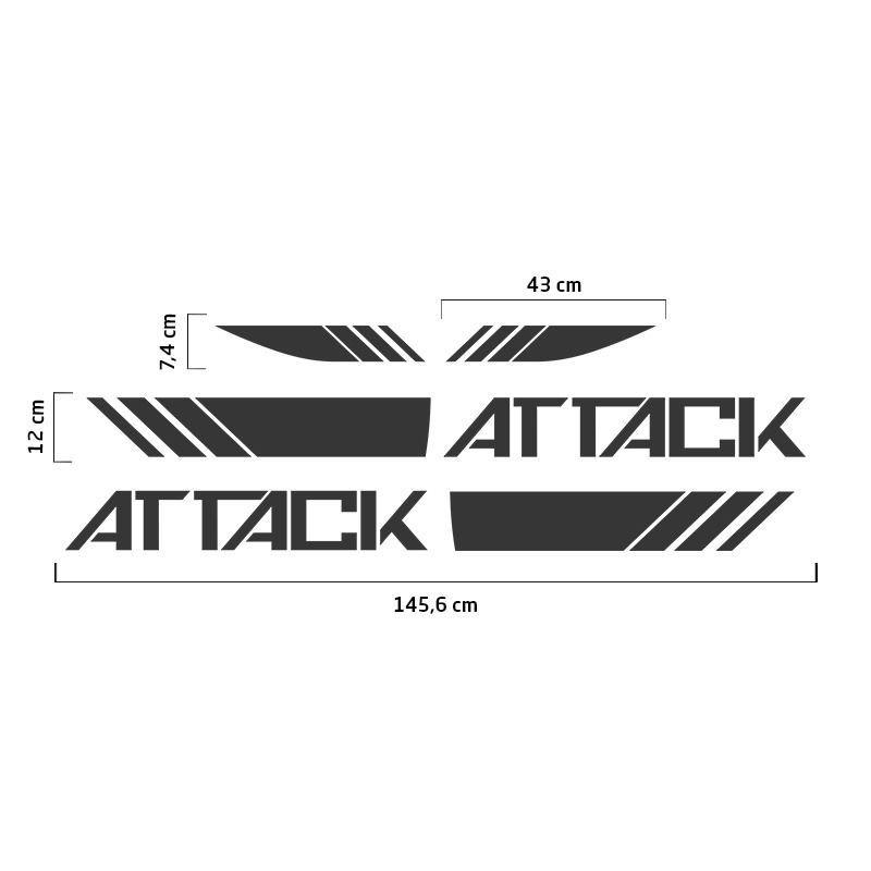 Faixa Attack Frontier 2017/2019 Adesivo Lateral Capô Grafite