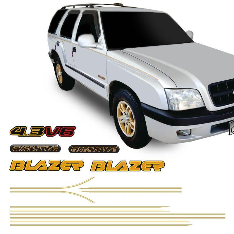 Kit Faixa Blazer Executive 2001/2002 4.3 V6 Adesivo Dourado