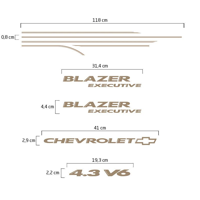 Kit Faixa Blazer Executive 2003/06 4.3 V6 Adesivo Champanhe